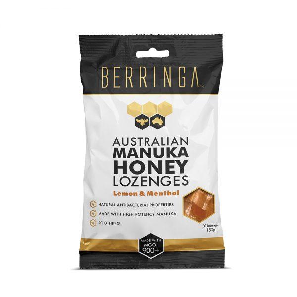 Berringa Aust Manuka Honey Lozenges Lemon Menthol x30Pk 150g